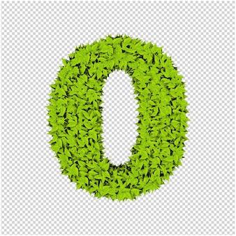 Carta de folhas verdes renderização em 3d