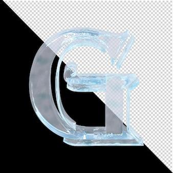 Carta de gelo da coleção árabe em um fundo transparente. 3d letra g