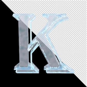 Carta de gelo da coleção árabe em um fundo transparente. 3d letra k