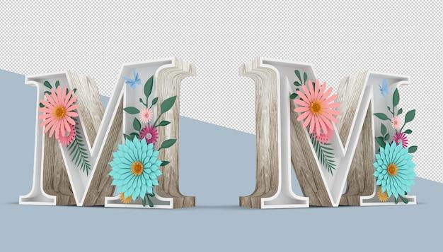 Carta de madeira com decoração de flores coloridas