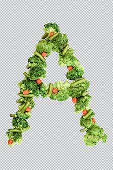 Carta ? estilo de vida e nutrição saudáveis. alfabeto ingles. texto dos produtos. brócolis, aspargos, cenouras. fonte do designer. fonte vegetal. psd