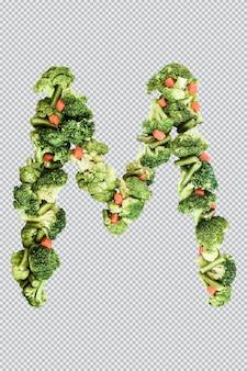 Carta m. estilo de vida e nutrição saudáveis. alfabeto ingles. texto dos produtos. brócolis, aspargos, cenouras. fonte do designer. fonte vegetal. psd