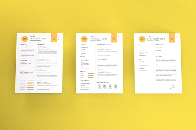 Carta realista tamanho curriculum vitae maquete tempate
