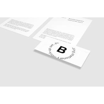 Cartão, ao lado, folheto, maquete, cima