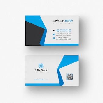Cartão branco com detalhes azuis