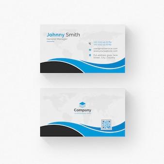 Cartão branco com detalhes em preto e azul