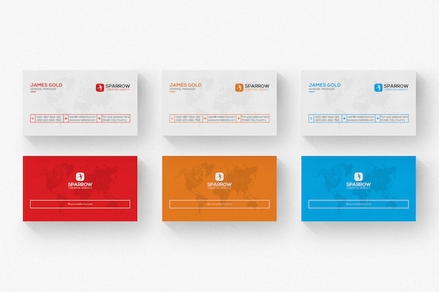 Cartão branco com detalhes vermelhos e laranja