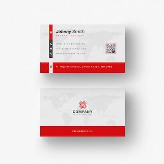 Cartão branco com detalhes vermelhos