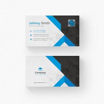 Cartão branco e preto com detalhes azuis