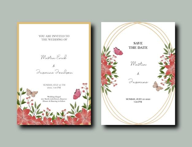 Cartão com flores de tulipa e lírio e design de moldura de ouro
