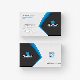 Cartão corporativo branco e preto com formas azuis