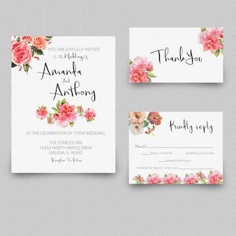 Cartão de agradecimento de convite de casamento rsvp