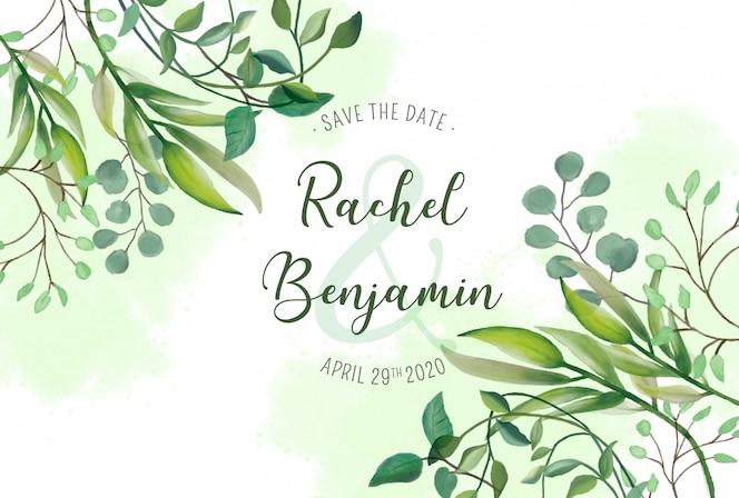 Cartão de casamento com folhas de aquarela