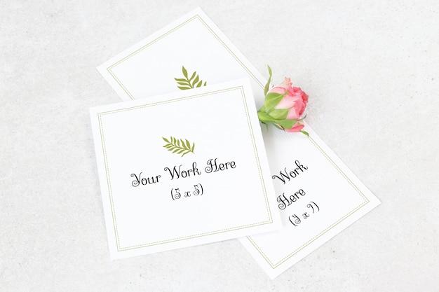 Cartão de casamento de maquete e cartão de agradecimento