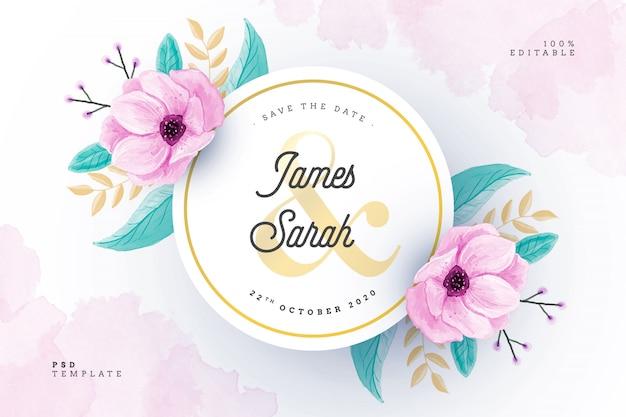 Cartão de casamento em aquarela com moldura floral