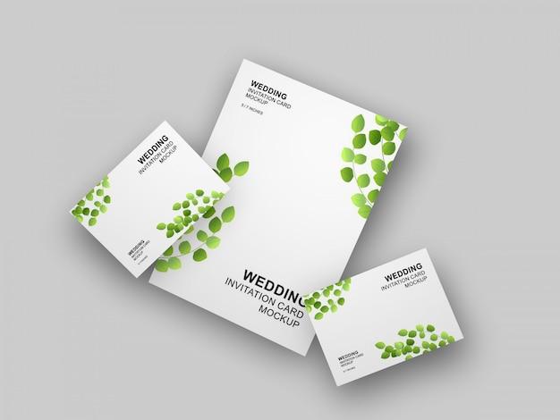 Cartão de casamento simples e limpo elegante com modelo de maquete de envelope
