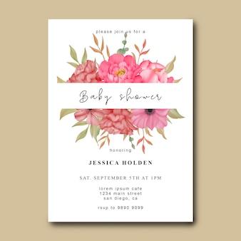 Cartão de chá de bebê com flores em aquarela