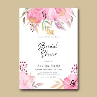 Cartão de chá de panela com flores em aquarela rosa