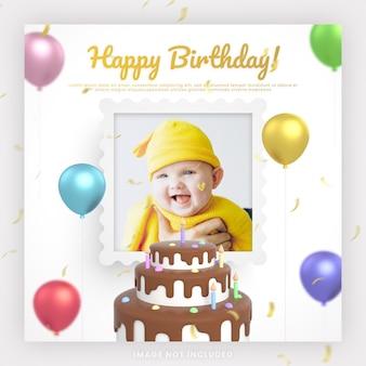 Cartão de convite de bolo de feliz aniversário de bebê para modelo de postagem de mídia social instagram com maquete