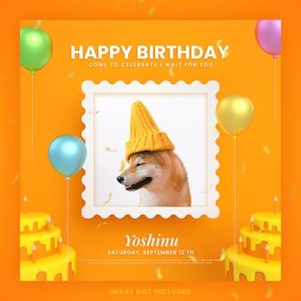 Cartão de convite de bolo de feliz aniversário para cachorro animal para modelo de postagem de mídia social instagram com maquete