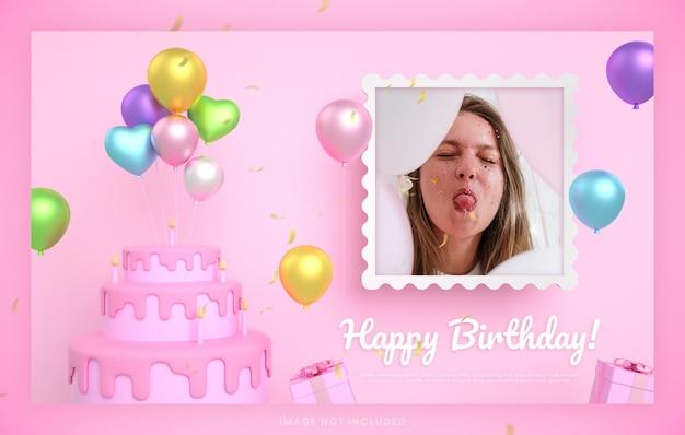 Cartão de convite de bolo de feliz aniversário para modelo de postagem de mídia social instagram rosa com maquete