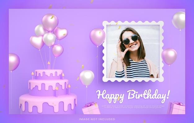 Cartão de convite de bolo de feliz aniversário para modelo de postagem de mídia social instagram roxo com maquete