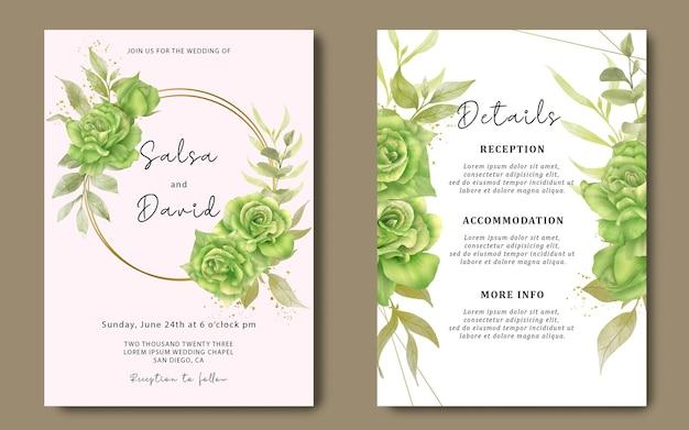 Cartão de convite de casamento com aquarela bouquet de rosas verdes
