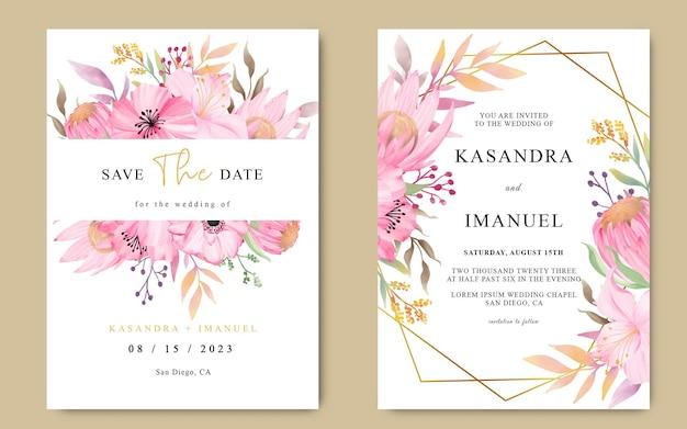 Cartão de convite de casamento com buquê de flores protea e flores em aquarela