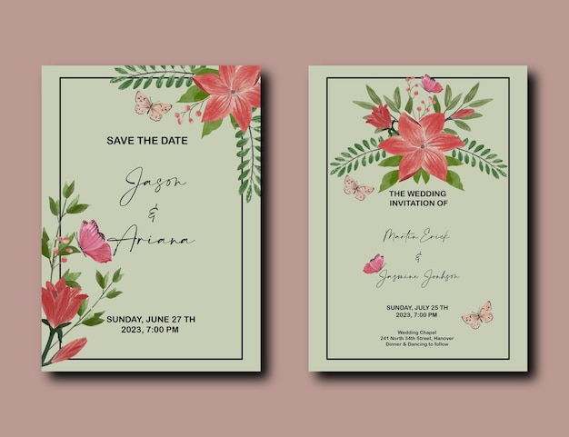 Cartão de convite de casamento com conjunto de decoração de flores de lírio e tulipa vermelha