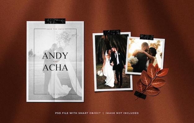 Cartão de convite de casamento com modelo de maquete de molduras de papel fotográfico