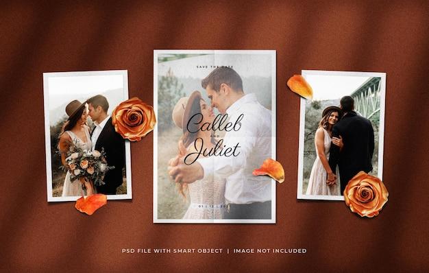 Cartão de convite de casamento com molduras de papel fotográfico e enfeites de pétalas de flores