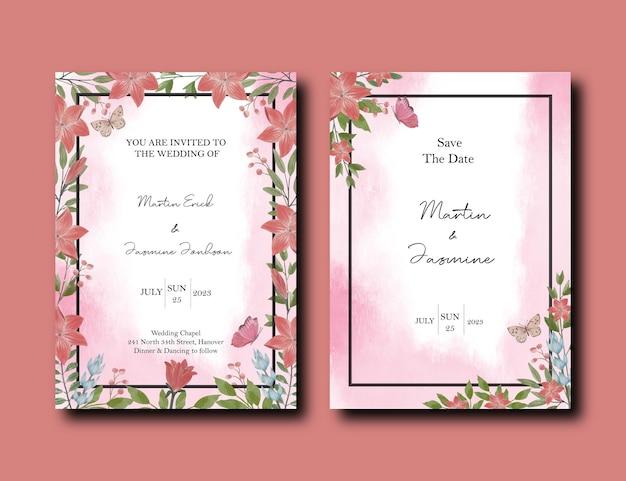 Cartão de convite de casamento com pacote de design de flores de tulipa e lírio
