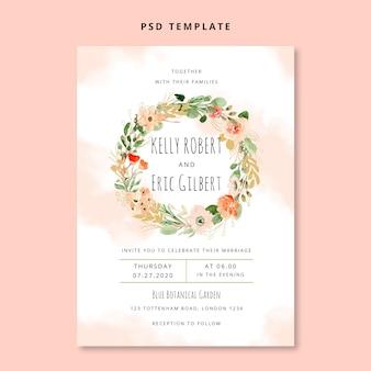 Cartão de convite de casamento de grinalda floral aquarela