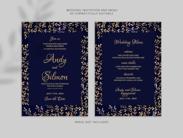 Cartão de convite de casamento elegante com lindas flores douradas premium psd