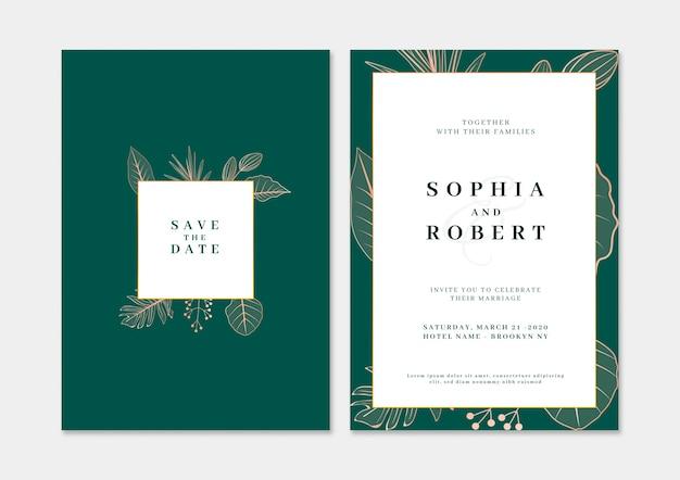 Cartão de convite de casamento elegante com o conceito de natureza