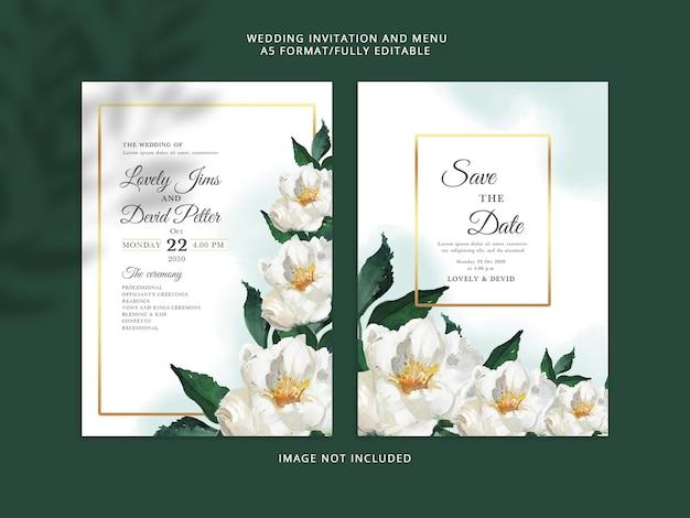 Cartão de convite de casamento elegante e floral modelo psd premium