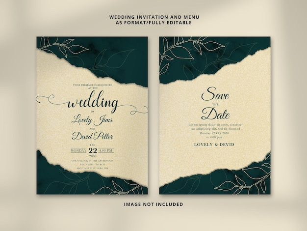 Cartão de convite de casamento elegante verde real