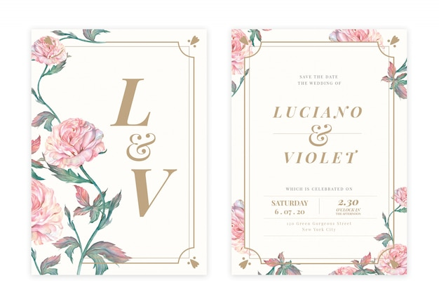 Cartão de convite de casamento floral handdrawn