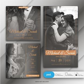 Cartão de convite de casamento para post e história do instagram