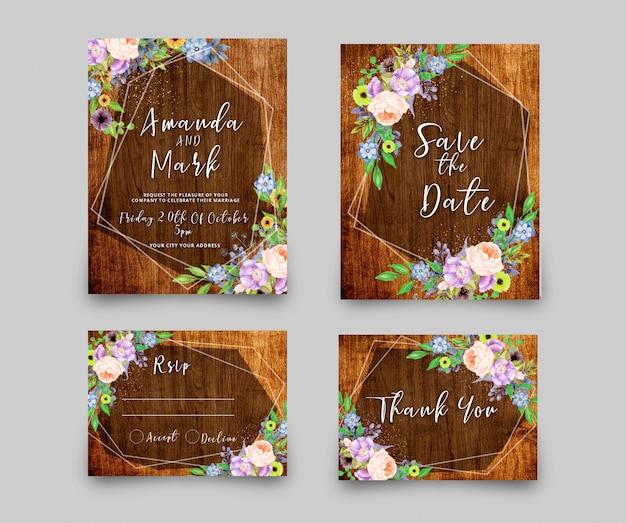 Cartão de convite de casamento rsvp