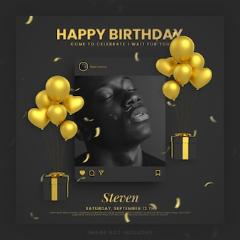 Cartão de convite de feliz aniversário ouro preto para modelo de postagem de mídia social instagram com maquete