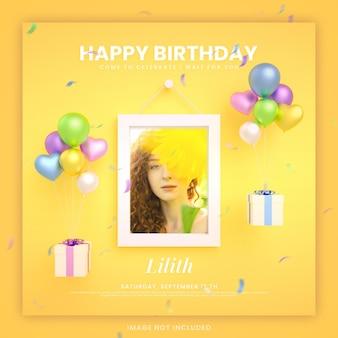 Cartão de convite de feliz aniversário para modelo de postagem de mídia social instagram colorida com maquete