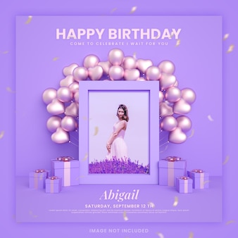 Cartão de convite de feliz aniversário para modelo de postagem de mídia social instagram com maquete e balão