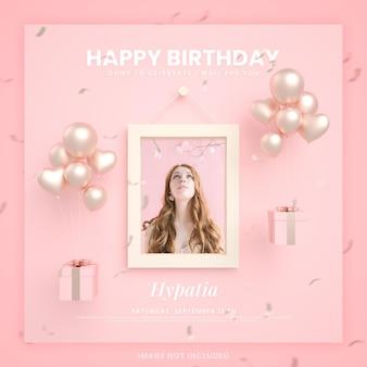 Cartão de convite de feliz aniversário para modelo de postagem de mídia social instagram com maquete