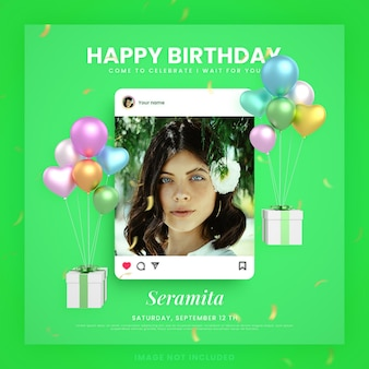 Cartão de convite de feliz aniversário para modelo de postagem de mídia social instagram verde com maquete