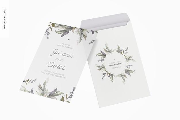 Cartão de convite em acrílico fosco com envelope maquete, flutuante