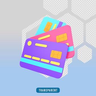 Cartão de débito 3d render icon