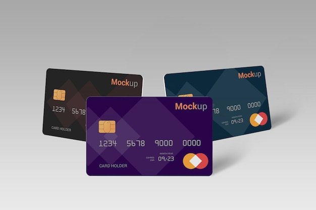 Cartão de débito, cartão de crédito, maquete de cartão inteligente