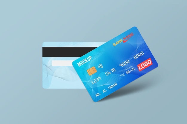 Cartão de débito cartão inteligente maquete de cartão plástico vista frontal e traseira