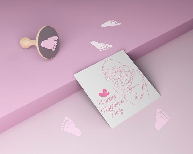 Cartão de dia das mães close-up com maquete